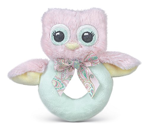 Bearington Baby Lil' Hoots Plush Stuffed Animal Pink Owl Soft Ring Rattle 5.5""