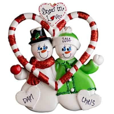 Candy Cane Love Couple Personalized Ornament - (Unique Christmas Tree Ornament - Classic Decor for A Holiday Party - Custom Decorations for Family Kids Baby Military Sports Or Pets) ()