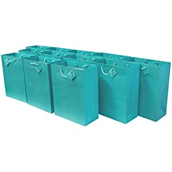Medium Premium Quality Paper Gift Bags/Party Favor Bags for Birthday Parties, Weddings, Holidays and All Occasions (12 Gift Bags in One Order) 7.5 x 3.5 x 9 x 3.5 … (Turquoise)