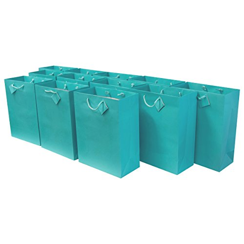 Large Premium Quality Paper Gift Bags with Handles, Party Favor Bags for Birthday Parties, Weddings, Holidays and All Occasions (12 Gift Bags in One Order) 10 x 5 x 13 x 5 … (Turquoise) by Prime Line Packaging