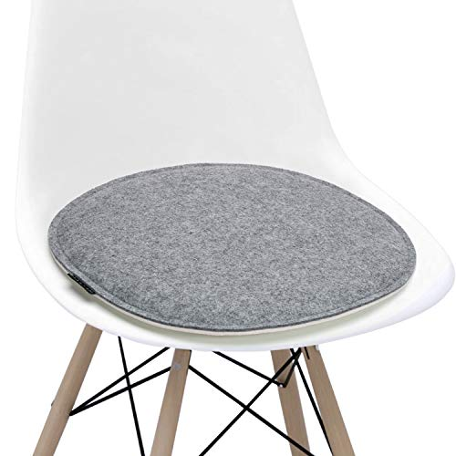 Welaxy Felt Chair Pads seat Cushion for Eames Chair DSW Plastic Chairs Pads for Office Indoor Home Dining Kitchen Oval Shape (White +Grey, 1)