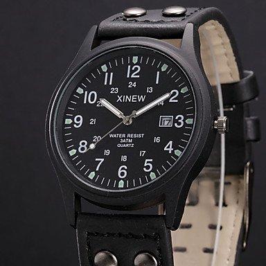 Fashion Watches Men Military Watches Casual Quartz Watch XINEW Brand Luxury Leather Fashion Wristwatches Relojes Masculino