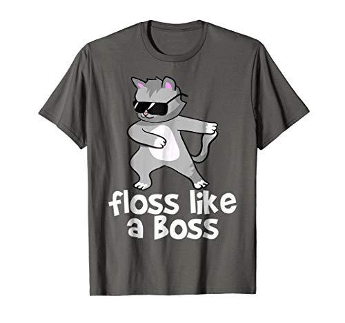 - Grey Fluffy Cute Cat Floss Like a Boss T-Shirt