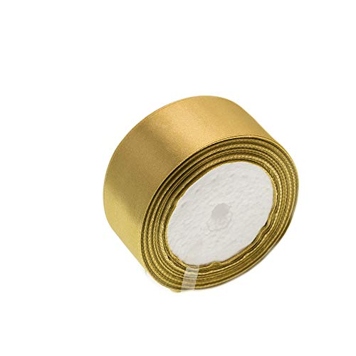 ATRibbons 50 Yards 1-1/2 inch Wide Satin Ribbon Perfect for Wedding,Handmade Bows and Gift Wrapping,25 Yards/Roll x 2 Rolls (Old Gold)
