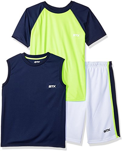STX Fashion Boys' Toddler Performance Sleeve, Muscle Tee and Short Set, Lime, 2T