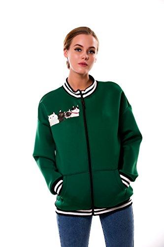 BaronHong Women's Plus Size Designer Impreso Casual Chaqueta de béisbol con cremallera Verde