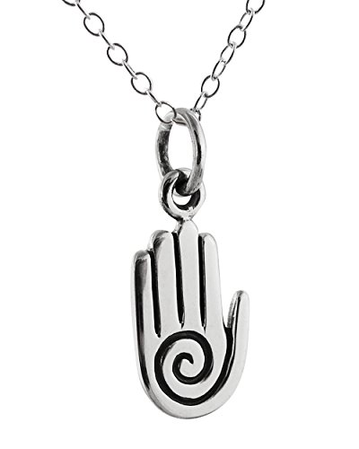 Sterling Silver Tiny Spiritual Healing Hand Charm Pendant Necklace, 18