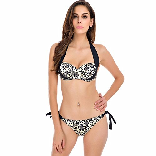 Walid-New Sexy Bikinis Women Swimsuit Push Up Bikini Set Bathing Suits Halter Summer Beach Wear Plus Size( Plus Size: L )