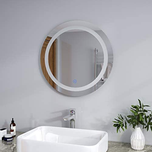 ELEGANT Modern Bathroom Mirror Round Waterproof Illuminated LED Backlit Wall Makeup Mirrors with White Light Sensor Touch Control and Demister Pad - 600x600mm