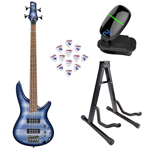 Ibanez SR300E SR Standard Series Electric Bass Guitar (Navy Planet Matte) with Front Row Guitar Stand, tuner and pick sampler (Stand Ibanez)