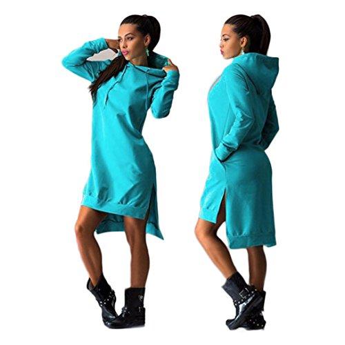 FEITONG Mujer Camisa de entrenamiento Algodón Vestir Doble División Capucha Pull-over bolsillos Suéter Azul
