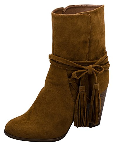 Breckelles Womens Wrap Around Western Tassel Chunky Stacked Heel Ankle Bootie Tan V02aa5jx