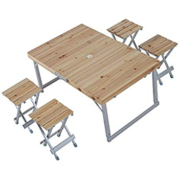 Outsunny Height Adjustable Folding Outdoor Picnic Table W/ 4 Seats    Natural Wood And Silver