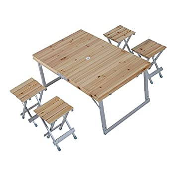 outsunny height adjustable folding outdoor picnic table w 4 seats natural wood and silver - Wood Picnic Table