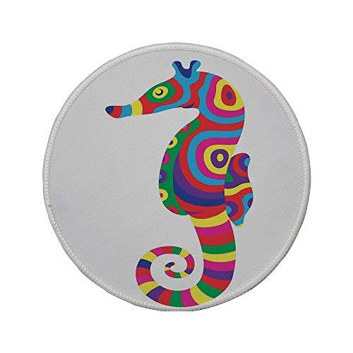 """Non-Slip Rubber Round Mouse Pad,Animal Decor,Graphic of Funny Several Colored Seahorse Fauna Bony Fish Retro Maritime Object,Multi,11.8""""x11.8""""x5MM"""