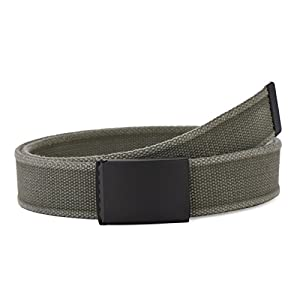 "Men's Military Washed Canvas Waist Web Belt with Flip-Top Black Buckle 49"" Long 1.5"" Wide (Khaki)"
