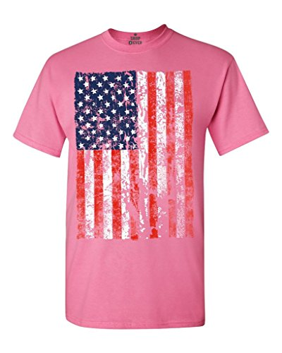 Shop4Ever United States of America Flag Vintage T-Shirt USA Flag Shirts XXX-LargeAzalea Pink 13500