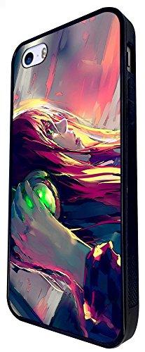 1011 - Cool Fun Cute Music Girl DJ Dance Music Graffiti Trance Clubber Design iphone SE - 2016 Coque Fashion Trend Case Coque Protection Cover plastique et métal - Noir