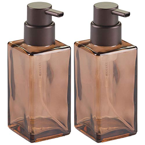 mDesign Modern Square Glass Refillable Foaming Hand Soap Dispenser Pump Bottle for Bathroom Vanities or Kitchen Sink, Countertops, 2 Pack - Sand/Bronze ()
