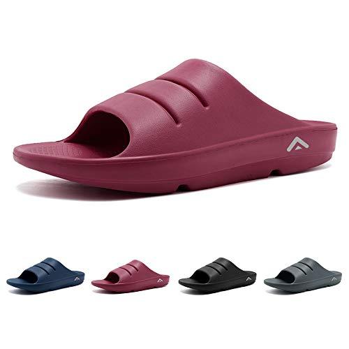 FANTURE Unisex Adventure Slide Sandals SoftFootPainReliefArchSupportRecoveryShoesandSlipper-Cranberry-40