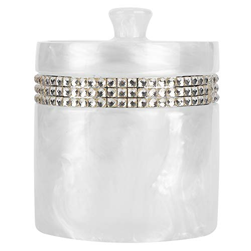 AGATIGE APOTHECARY JARS LIDS 면봉 용 면봉 홀더 라운드 볼 메이크업 스폰지 목욕 소금(흰색)
