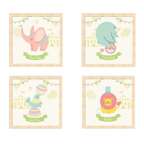 Metaverse Framed Art (Metaverse Cleonique Hilsaca 'Little Circus Animals (Pastel)' Beechwood Framed Art (Pack of 4))