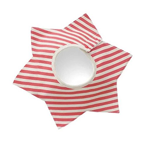 COFFLED Red Strip Star Shaped 100% Cotton Baby Bandana Bib for Infant Eating with Snaps; Super Absorbent Drool Bib Saliva Towels For Unisex Boys and Girls