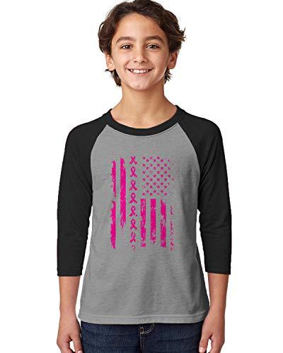 SpiritForged Apparel Pink Ribbon American Flag Breast Cancer Youth 3/4 Raglan Shirt, Black/Heather Medium