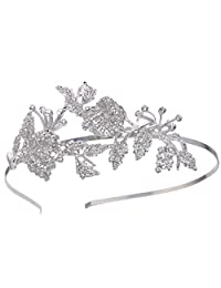 Ever Faith Silver-Tone Austrian Crystal Wedding Double Orchid Flowers Leaf Bridal Head Band Clear A13291-1