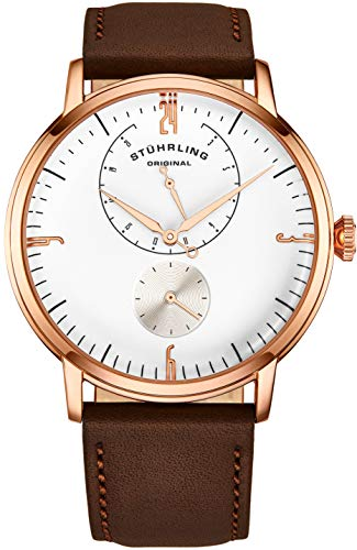 Stührling Original Mens Stainless Steel Formal Analog Dress Watch, Domed Crystal, Luxury Horween Leather Band, 24 Hour Subdial, 778 Cabaletta Watches Collection (Rose Gold) (Best German Watches Under 500)