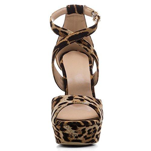Damen Sexy Knöchel Gurt Klobig Hoch Hacke Sandalen Gucken Zehe Riemchen Leopard Schuhe LEOPARD