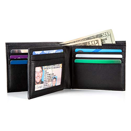Mens 10 slot RFID Blocking Leather Bifold Wallet for Men Leather