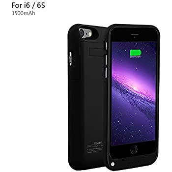 YHhao 4.7 inches 3500mAh Charger Case for iPhone 6 / 6s Slim Extended Battery Case Portable Cell Phone Battery Charger Back up Power Bank Rechargeable Charger Case with Stand(iPhone6-Black02)