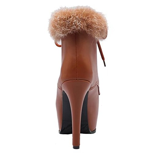 Round with Winter up Yellow Boots Lace AIYOUMEI Ankle Fur Women's Toe Stilettos Autumn qUHaUtRwT