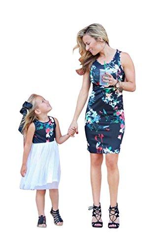 Lenfesh Robes De Cocktail, Femmes Floral Imprimer Bowknot Manches Mini Robe De SoirE DContractE Baby