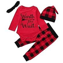 Christmas Party 4pcs Toddler Baby Letter Print Romper+Grid Plaid Pants + Hat+ Headbands Set Outfit 0-24Months