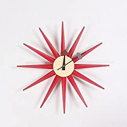 MCC Sunburst Atomic Wooden Wall Clock Mid Century Multi Color Handmade Antique Retro Telechron Danish Nelson Style , red