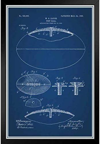 ポスター - ひも付きフットボール公式特許の青写真アートパネル 印象派 壁掛け 絵画 - 33*23cm(額縁を送る)