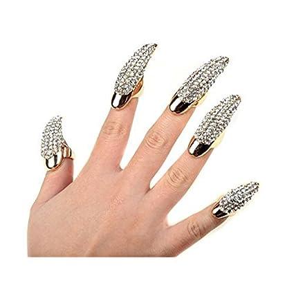 ZeHui - 5 anillos de dedo para uñas postizas de cristal transparente