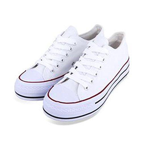 Summerwhisper Moda Donna Basso Top Sneakers Basse Scarpe Di Tela Stringate Rosso E Bianco
