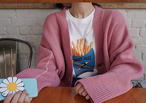 Elegante Elegante Giaccone Ragazza Giubbino Festiva Donna Rosa Lunga Lunga Lunga Single Colore Manica Maglia Cappotto Forti Primaverile Cappotto Puro Sciolto Neck Moda Outerwear Giovane Breasted V Taglie Autunno Moda A 8O7qw4xz