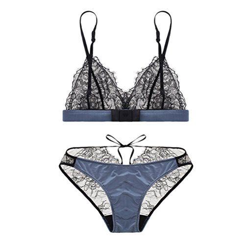 Zhhlinyuan Casual Ladies Ropa interior Underwear Breathable Lace Thin Cup Temptation Tie Bra Set Push up Blue