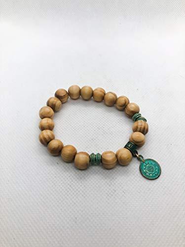 Pine Wood Verdigris Patina Vintage Medallion Charm Bracelet - Stretch Bracelet - Verdigris Accent Bead - Bohemian Bail - 7.5