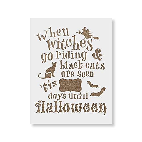 Halloween Countdown Stencil Template - Reusable Stencils for