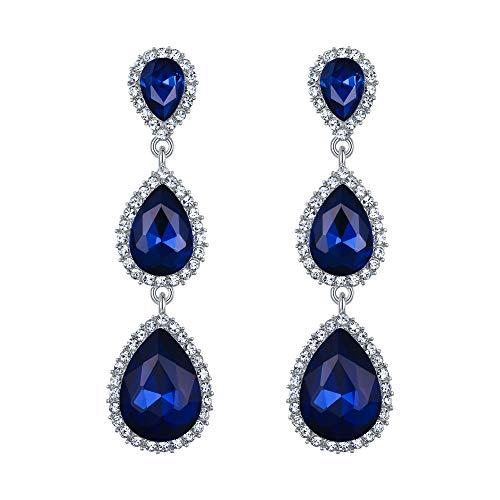(EleQueen Women's Silver-tone Austrian Crystal Tear Drop Pear Shape Long Earrings Royal Blue)