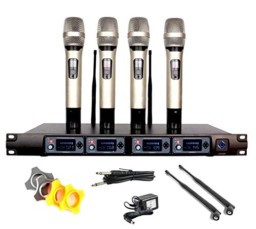 EXMAX Professional UHF 4 Channel Diversity Wireless Microphone System with...