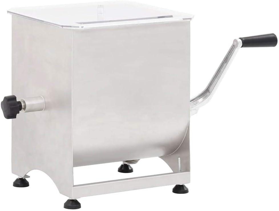 Licuadora de Carne Manual 44 L Amasadora/Batidora/Picadora/Mezcladora de Carne con Tapa Transparente Maquina para Casa Cocina Industrial Profesional Fiesta de Acero Inoxidable [EU STOCK]