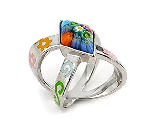 Paragon Shape Multicolor Murano Millefiori Glass Ring 925 Sterling Silver Size 6 - Millefiori 925 Sterling Silver Ring