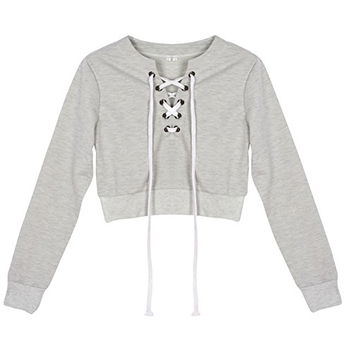 Fedi Apparel Women Girl Teens Casual Crop Tops Blouse Short Cotton Sweatshirt
