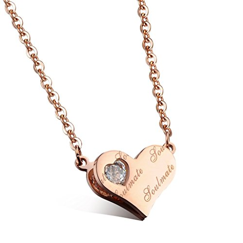 [Heart Soul Mate Cubic Zirconia Necklace Girls Rose Gold-Plated Stainless Steel Pendant Chain 435 Mm] (Old Navy Halloween Costumes Elephant)